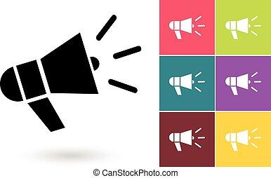 megafone, símbolo, vetorial, ou, ícone