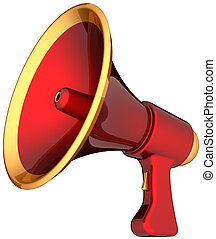 megafone vermelho, alarme, anúncio