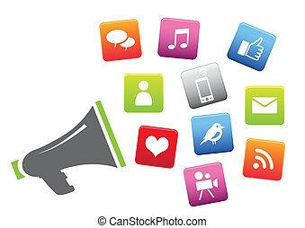 megafono, con, sociale, media, icone