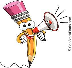 megafono, isolato, cartone animato, parlante, mascotte, matita