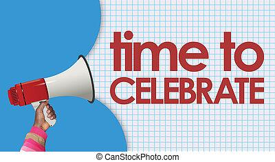 megafono, parola, celebrare, tempo