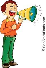 megafono, usando, illustrazione, uomo