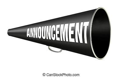 megafoon, aankondiging