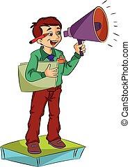megafoon, gebruik, illustratie, man