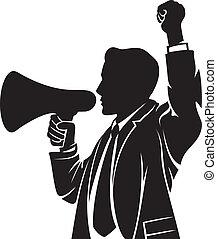 megafoon, het spreken, man