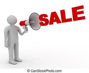 megafoon, woord, verkoop, man, 3d