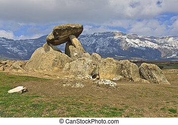 Megalithic tomb, Dolmen La Chabola de la Hechicera, Elvillar, Alava, Spain