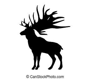 Megaloceros giant reindeer silhouette extinct mammalian...