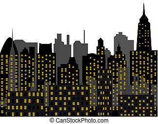 Image of the panorama of modern town - skyscrapers - high-clearance buildings - metropolis of recent time - vector