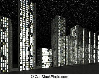 megalopolis:, edificios, moderno, resumen, fila