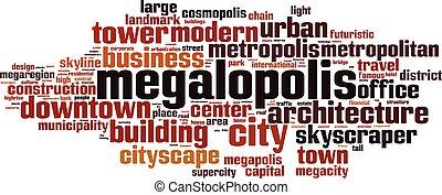 Megalopolis word cloud concept. Vector illustration