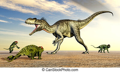 Megalosaurus and Doliosauriscus - Computer generated 3D...