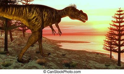 Megalosaurus dinosaur walking toward the ocean - 3D render