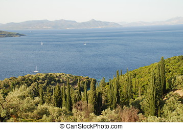 Megannisi island, Greece - Looking down to the coastline of...