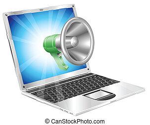megaphon, ikone, laptop, begriff