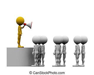 megaphon, machen, ankündigung, kommunikation, -, führer, freigestellt, mannschaft, seine, 3d, rotes , begriff