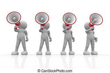 3d people - human character , person with megaphone . 3d render