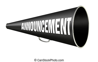"""black vintage megaphone with the word """"Announcement"""" on the side isolated on white background"""