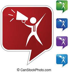 Megaphone Businessman - Megaphone businessman web button...