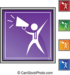 Megaphone Businessman - Megaphone businessman web button...