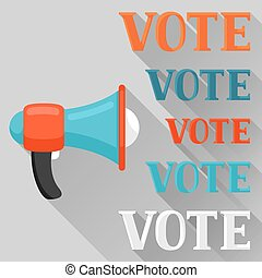 Megaphone calling vote. Political elections illustration for banners, web sites, banners and flayers