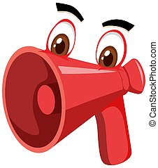 Megaphone cartoon character with facial expression