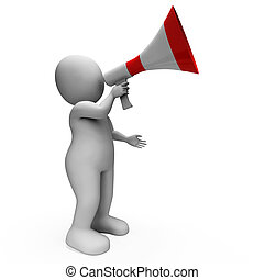 Megaphone Character Showing Announcements Proclaiming And...