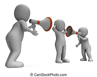 Megaphone Characters Showing Attention Explaining Announce...