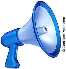 Megaphone announcement news message colored blue. Bullhorn loudspeaker communication symbol classic. Help education concept. This is a detailed CG 3D render (Hi-Res). Isolated on white background