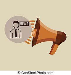 megaphone concept news anchorman design vector illustration...