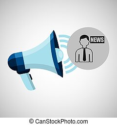 megaphone concept news anchorman design vector illustration...