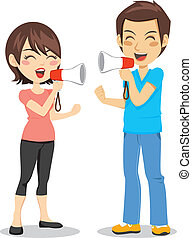 Megaphone Couple - Funny concept of man and woman arguing...