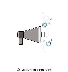 Megaphone Digital Email Marketing Icon Thin Line