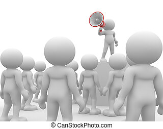 Megaphone - 3d people - human character , person speaking at...