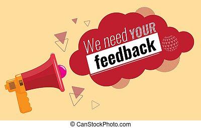 megaphone., enquête, vecteur, illustration., feedback., feedbacks, ton, concept, branché, besoin, client, nous