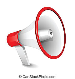 Megaphone - illustration of megaphone on plain white...