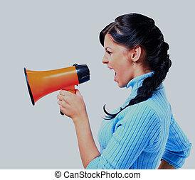 megaphone., femme, par, jeune, parler