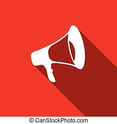 Megaphone flat icon with long shadow. Vector Illustration