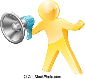 Megaphone gold person - Gold person mascot megaphone...