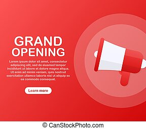 Megaphone Hand, business concept with text Grand opening. Vector illustration