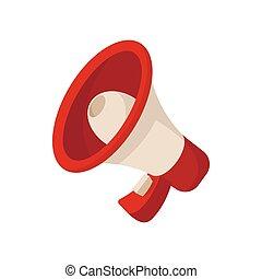 Megaphone icon, cartoon style on white