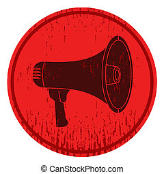 Megaphone icon - Circular sign with a picture of a megaphone...