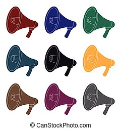 Megaphone icon in black style isolated on white background. Police symbol stock vector illustration.