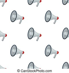 Megaphone icon in cartoon style isolated on white background. Police symbol stock vector illustration.
