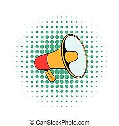 Megaphone icon in comics style