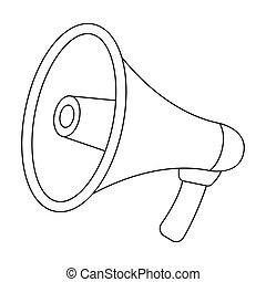 Megaphone icon in outline style isolated on white background. Police symbol stock vector illustration.