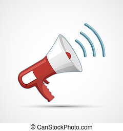 Megaphone icon isolated on a white background. Flat graphic