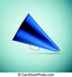 Megaphone icon isolated on blue background. Vector Illustration