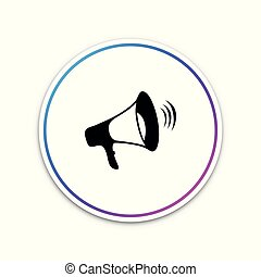 Megaphone icon isolated on white background. Circle white button. Vector Illustration