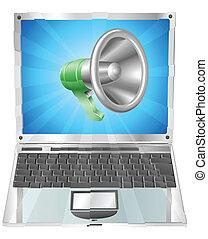 Megaphone icon laptop concept